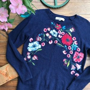 Loft Navy Embroidered Floral Sweater (M)